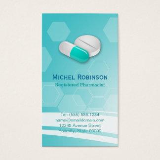 薬剤師-シンプルでエレガントな六角形のタブレットの丸薬 名刺