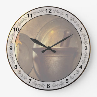 薬剤師-乳棒-遅く開けて下さい ラージ壁時計