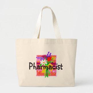 薬剤師、花のトートバック ラージトートバッグ