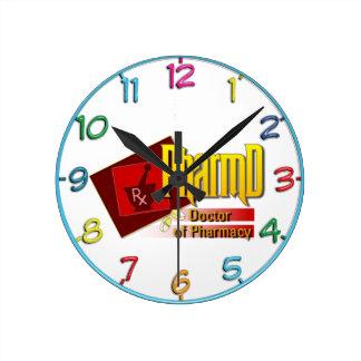 薬学のロゴのPharmDの医者 ラウンド壁時計