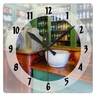 薬学の乳鉢そして乳棒 スクエア壁時計
