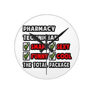 薬学の技術者…総パッケージ ラウンド壁時計