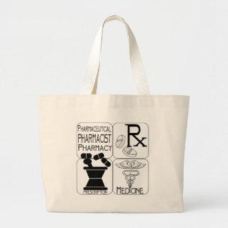 薬学の薬剤師のロゴ ラージトートバッグ