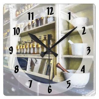 薬学の3乳鉢および乳棒 スクエア壁時計