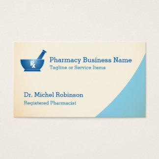 薬学乳鉢の乳棒のロゴの化学者-クリーム色の青 名刺