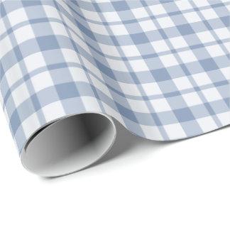藍色そして白くプレッピーな点検の包装紙 ラッピングペーパー