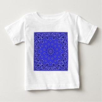 藍色のペイズリーの西部のバンダナのスカーフのプリント ベビーTシャツ