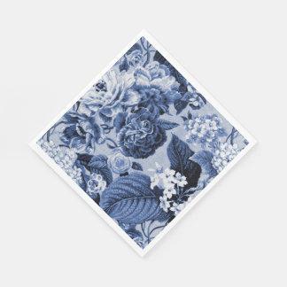 藍色のヴィンテージの花のToileの生地No.1 スタンダードランチョンナプキン