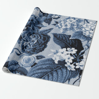 藍色のヴィンテージの花のToileの生地No.1 ラッピングペーパー