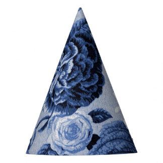 藍色のヴィンテージ花のToile No.1 パーティーハット