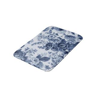 藍色のヴィンテージ花のToile No.3 バスマット