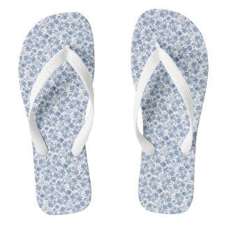 藍色の民族の花柄のビーチサンダル ビーチサンダル