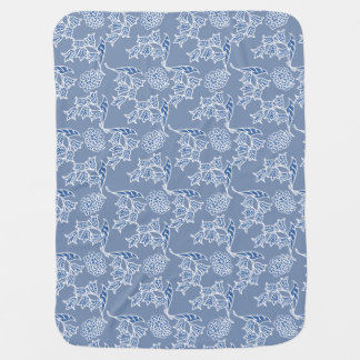 藍色の民族の花柄のベビー用バーブクロス ベビー ブランケット