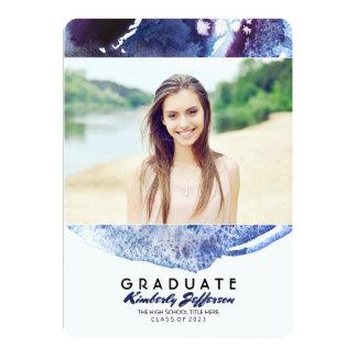 藍色の水彩画の写真の卒業パーティー 12.7 X 17.8 インビテーションカード