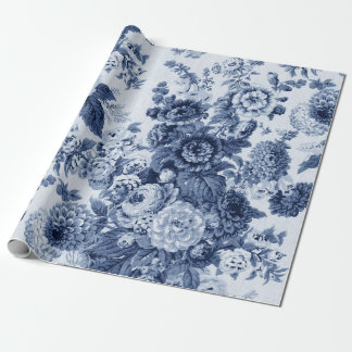 藍色の白黒のヴィンテージ花のToile No.3 ラッピングペーパー