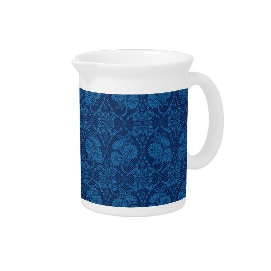 藍色の花の模造のなレースパターン ピッチャー