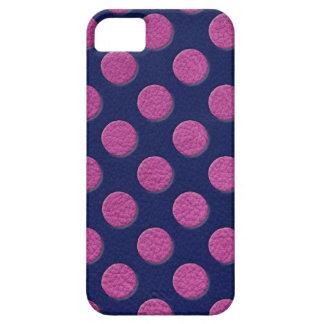 藍色の革質のマゼンタの水玉模様 iPhone SE/5/5s ケース