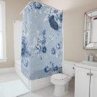藍色植物の花のToile No.4 シャワーカーテン