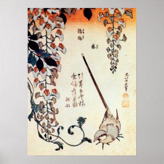 藤にセキレイ、北斎のWagtailおよび藤、Hokusai、Ukiyo-e ポスター