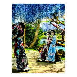 藤の庭のヴィンテージ古い日本の芸者 ポストカード
