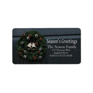 藤の時計のクリスマスのリースの季節の挨拶 ラベル