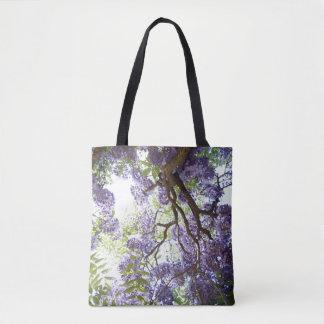 藤の紫色の花のかわいらしい花のトートバック トートバッグ