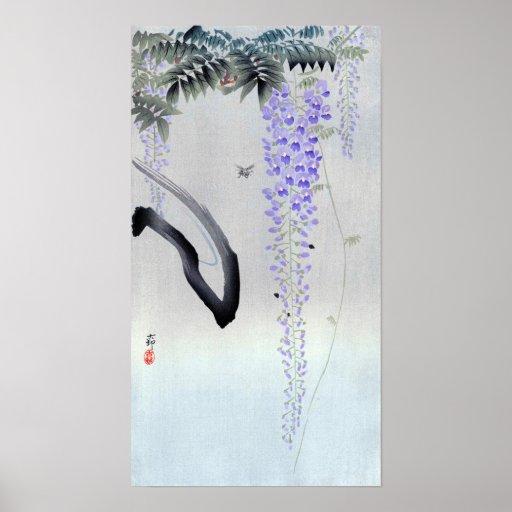 藤の花、古邨の花盛りの藤、Ohara Kosonの木版画 ポスター