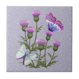 藤色のアザミそして蝶 タイル