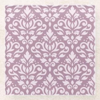 藤色のスクロールダマスク織パターンピンク ガラスコースター