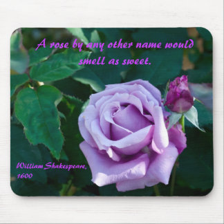藤色のバラ及びシェークスピアの引用文#2のマウスマット マウスパッド
