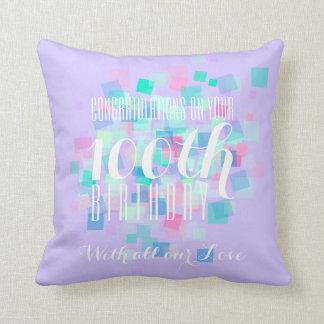 藤色のパステルカラーの100th誕生日のカスタムの枕 クッション