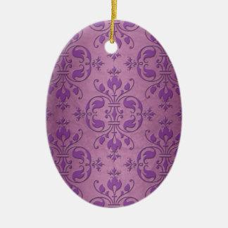藤色のピンク上のファンシーなダマスク織の紫色 セラミックオーナメント