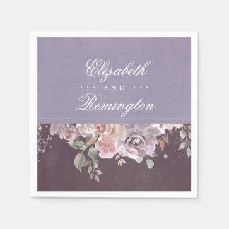 藤色のプラムおよび薄紫のヴィンテージの花の結婚式 スタンダードカクテルナプキン