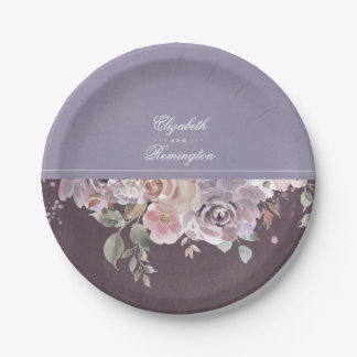 藤色のプラムおよび薄紫のヴィンテージの花の結婚式 ペーパープレート