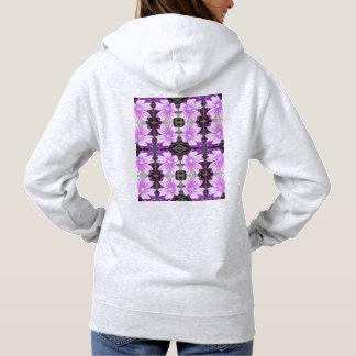 藤色の地上の花706Aのフラクタルのフード付きスウェットシャツ(灰) パーカ
