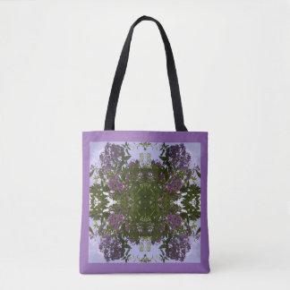 藤色の木の花及び空のフラクタルのトートバック トートバッグ