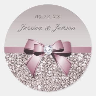 藤色の灰色のスパンコールのダイヤモンドの弓結婚式 ラウンドシール