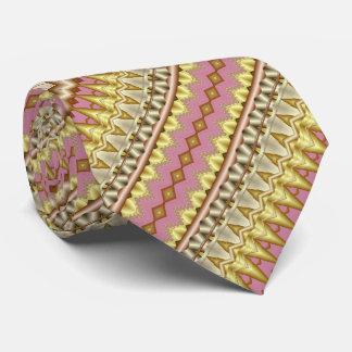 藤色、金ゴールドおよび暗灰色の斜めのフラクタルパターン ネックウェアー