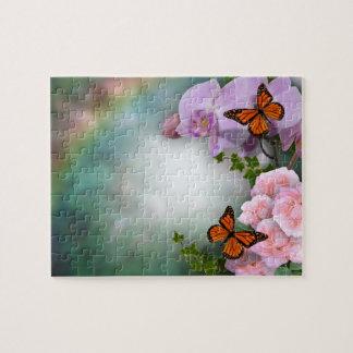 蘭および蝶パズル ジグソーパズル