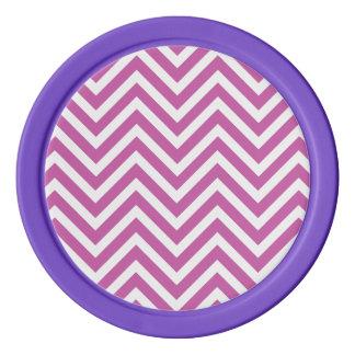 蘭のシェブロン放射パターン紫色の白いモダン ポーカーチップ