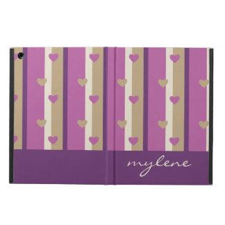 蘭のタンシャンペンのベージュ紫色はハートを縞で飾ります iPad AIRケース