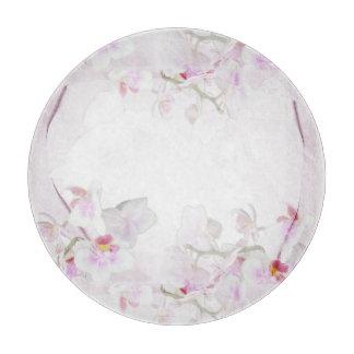 蘭の円形のガラスまな板 カッティングボード