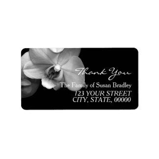 蘭の白黒の写真は宛名ラベル感謝していしています 宛名ラベル