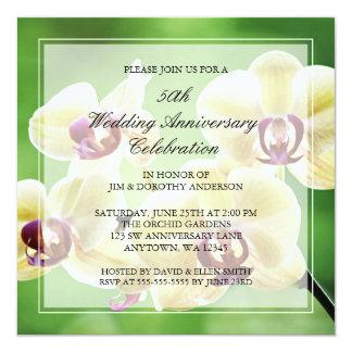 蘭の第50結婚記念日の招待状 13.3 スクエアインビテーションカード