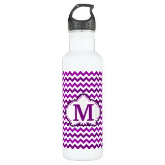 蘭の紫色のシェブロンの名前入りなモノグラム ウォーターボトル