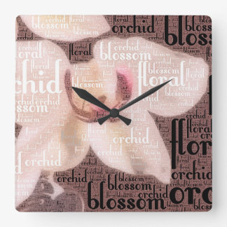 蘭の花の花の単語の雲 スクエア壁時計
