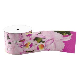 蘭の花柄の花の熱帯リボン グログランリボン