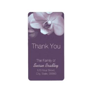 蘭の薄紫のエレガントラベル4感謝していしています 宛名ラベル