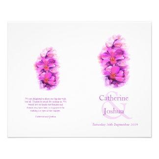 蘭|水彩画|紫色|ピンク|結婚|プログラム 11.4CM X 14.2CM チラシ