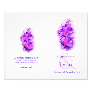 蘭|水彩画|紫色|結婚|プログラム 11.4CM X 14.2CM チラシ